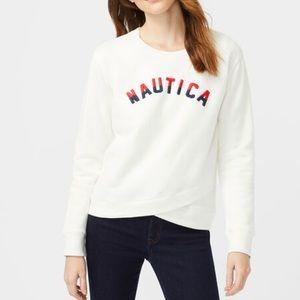 NAUTICA Women Sz XL Crossover Sweater Logo Sweater